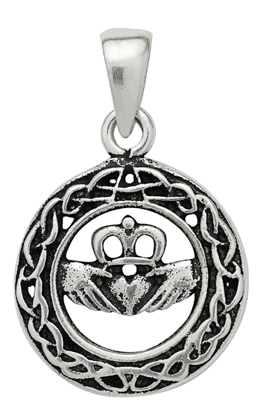 Silver Celtic Claddagh Pendant For Love Loyalty